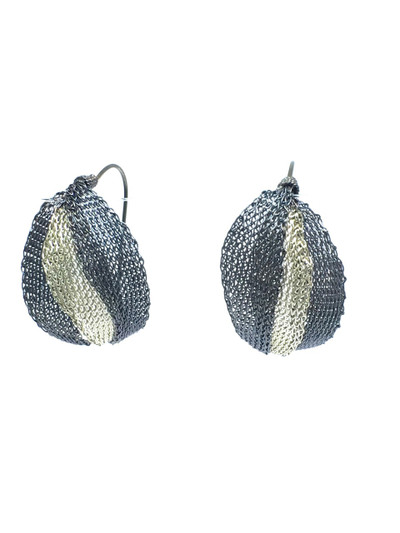 Woven Hand Knit Two Tone Leaves Earrings BLE334NB