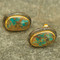 Alexander Stud Earring Iranian Turquoise 22k Gold Rhodium plating