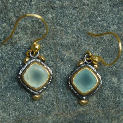 Alexander Earrings Blue Chalcedony 22k Gold & Rhodium plated