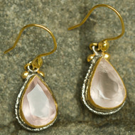 Alexander Earrings Rose Quartzy 22k Gold & Rhodium plated