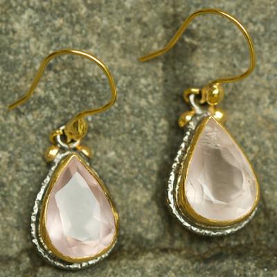 Alexander Earrings Rose Quartzy 22k Gold & Rhodium plated