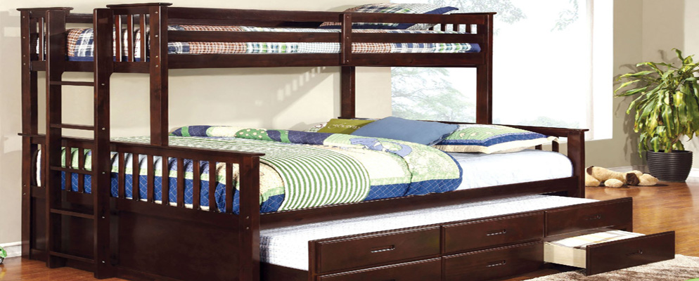 Extra Long Twin over Queen Bunk Bed with Trundle