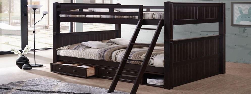 Queen over Queen Bunk Bed with Storage