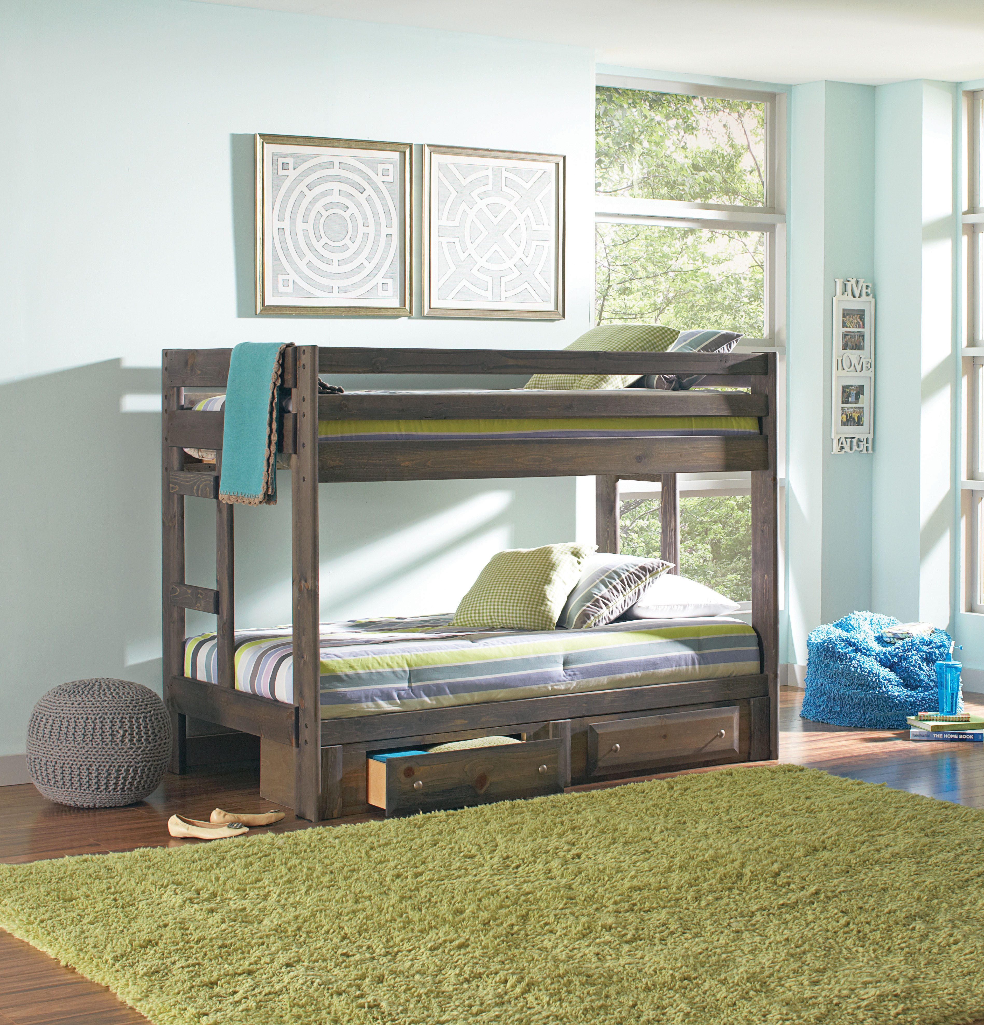 Twin Wood Bunk Bed with Under Bed Trundle