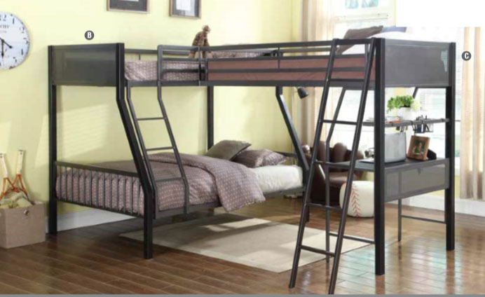 MILES BLACK DARK GRAY STEEL TWIN TWIN FULL LOFT BUNK BED