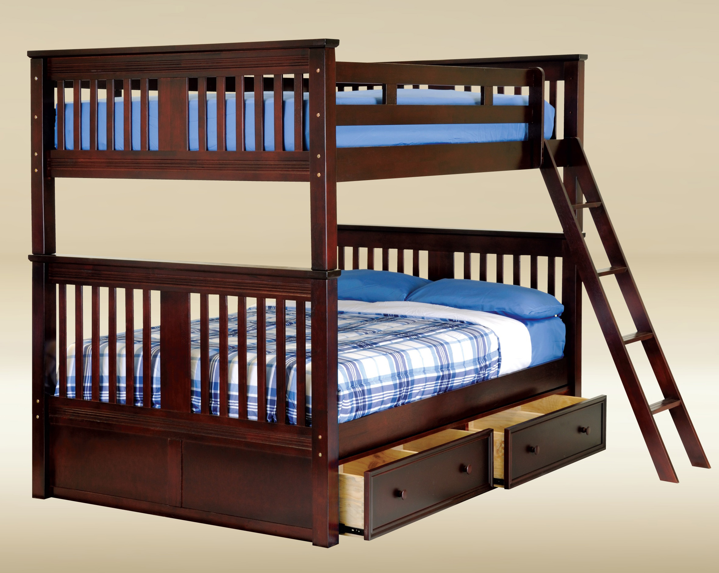 Full over Full Bunk Bed with Storage Drawers