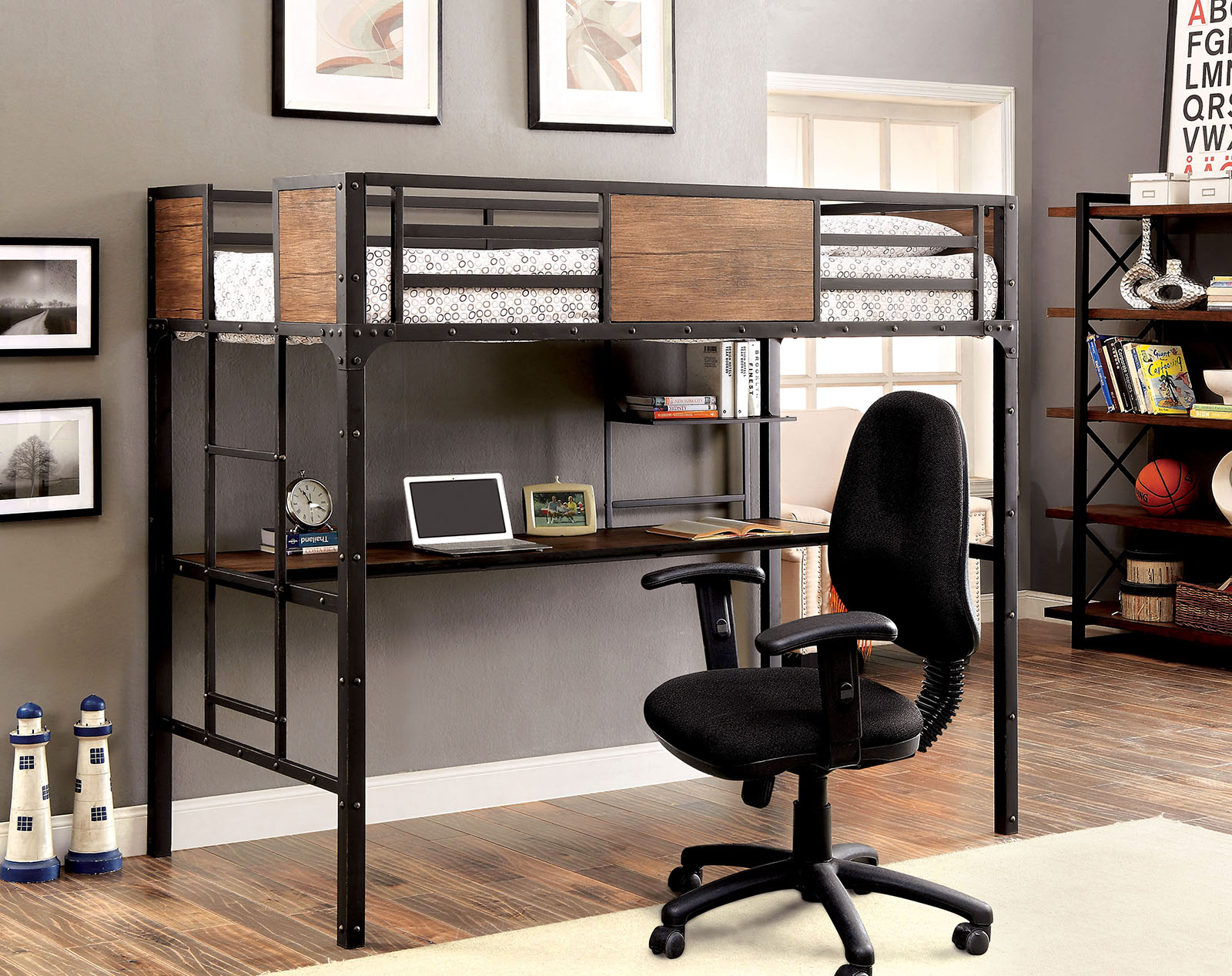 Industrial Twin Loft Bed with Workstation Below