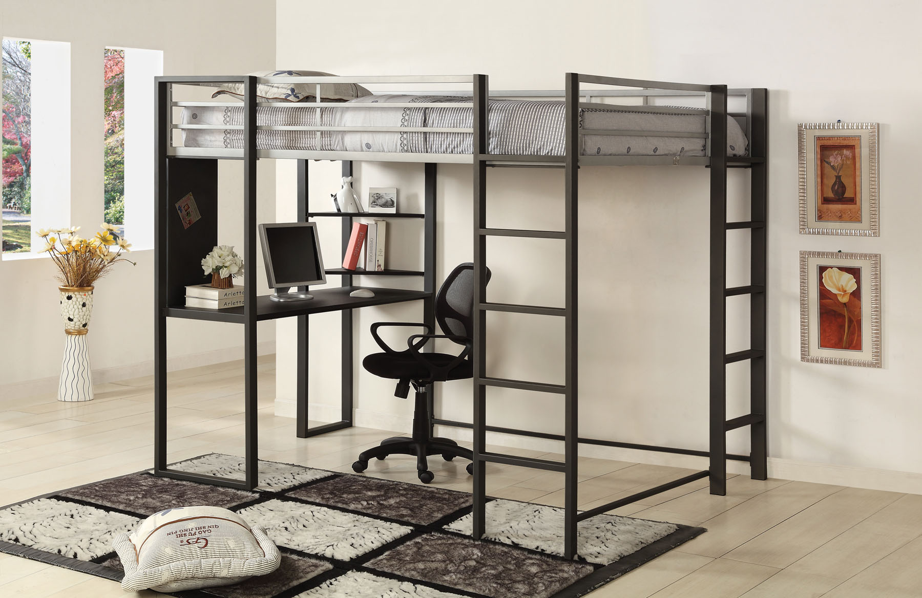 Full Size Loft Bed with Workstation Below