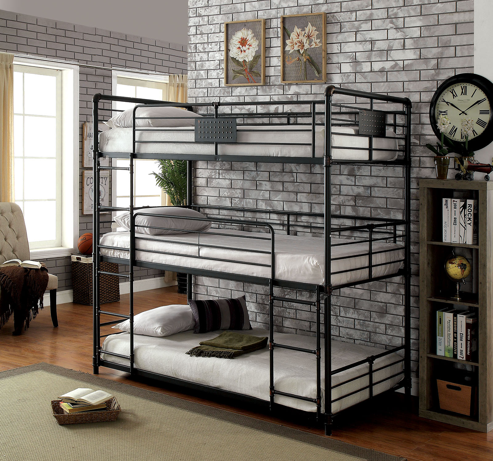 Industrial Style Piping Full Triple Bunk Bed