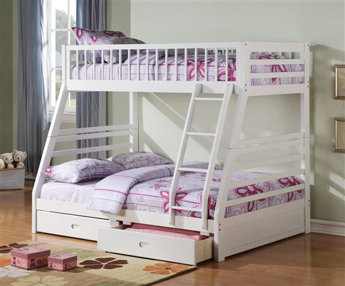 White Solid Wood Twin on Full Bunk Bed with Storage Drawers & Marina White Twin over Full Bunk Bed With Drawers for Sale