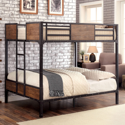 Furniture of America Industrial Wood Full Bunk Bed