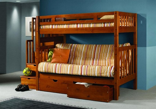 Casey Honey Pine Wood Futon Bunk Bed With Built In Stairs