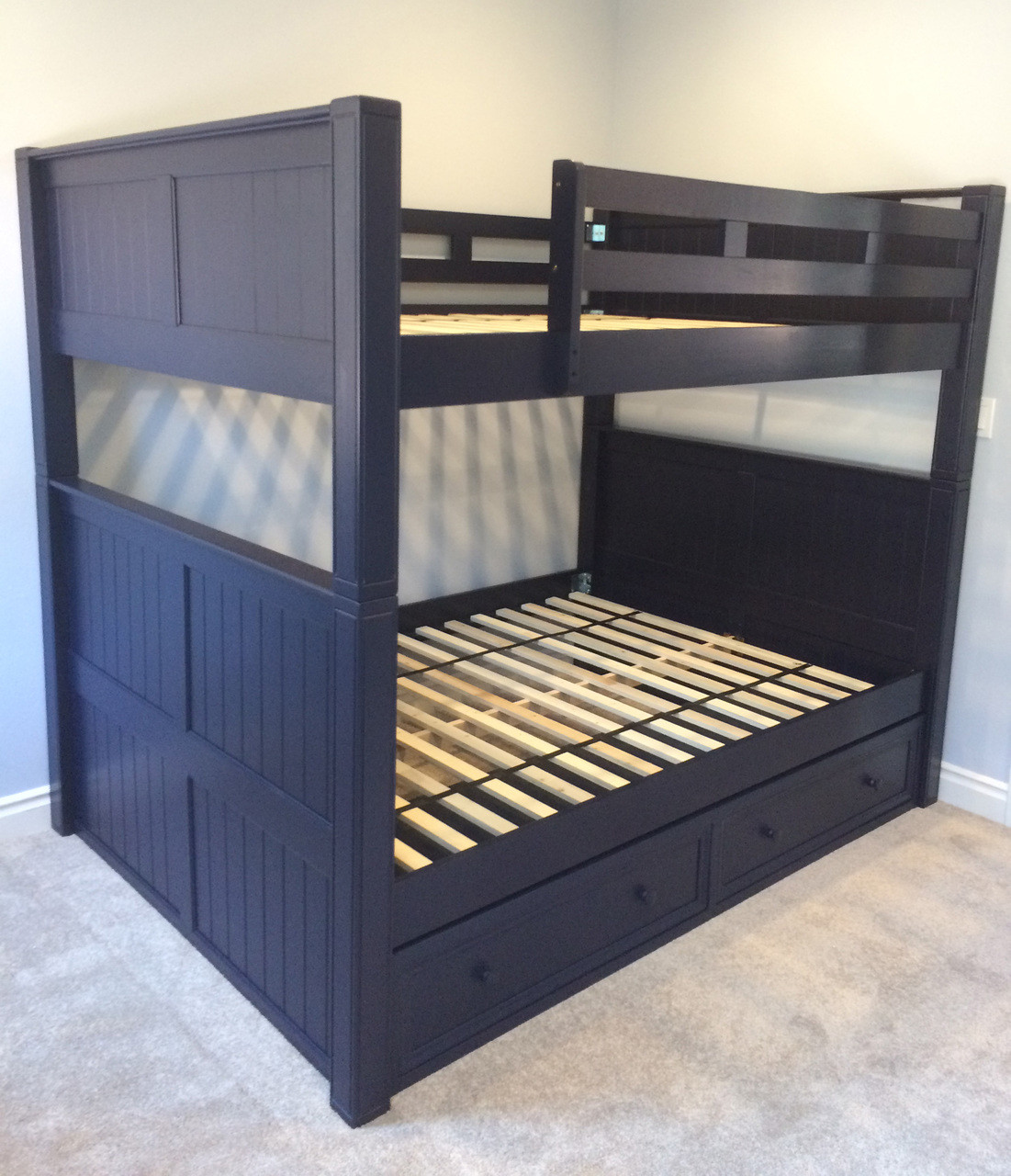 Full Over Full Bed Part - 48: ... Bed Full Over Full For Adults; Vertical Ladder; White Finish; Navy Blue  Finish ...