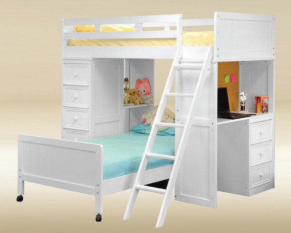 Gavin Navy Blue Twin Loft Bed With Desk Chest With Drawers