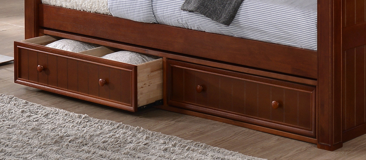 set of under bed storage drawers shown in dark pecan