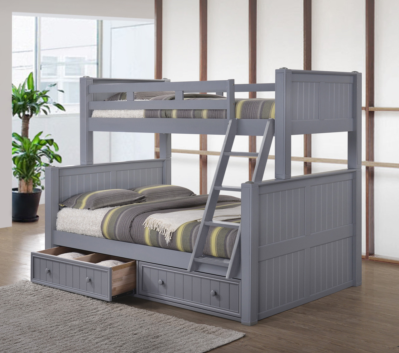 Dillon Blue Twin Full Bunk Bed  Navy Blue Bunk with Trundle Bed