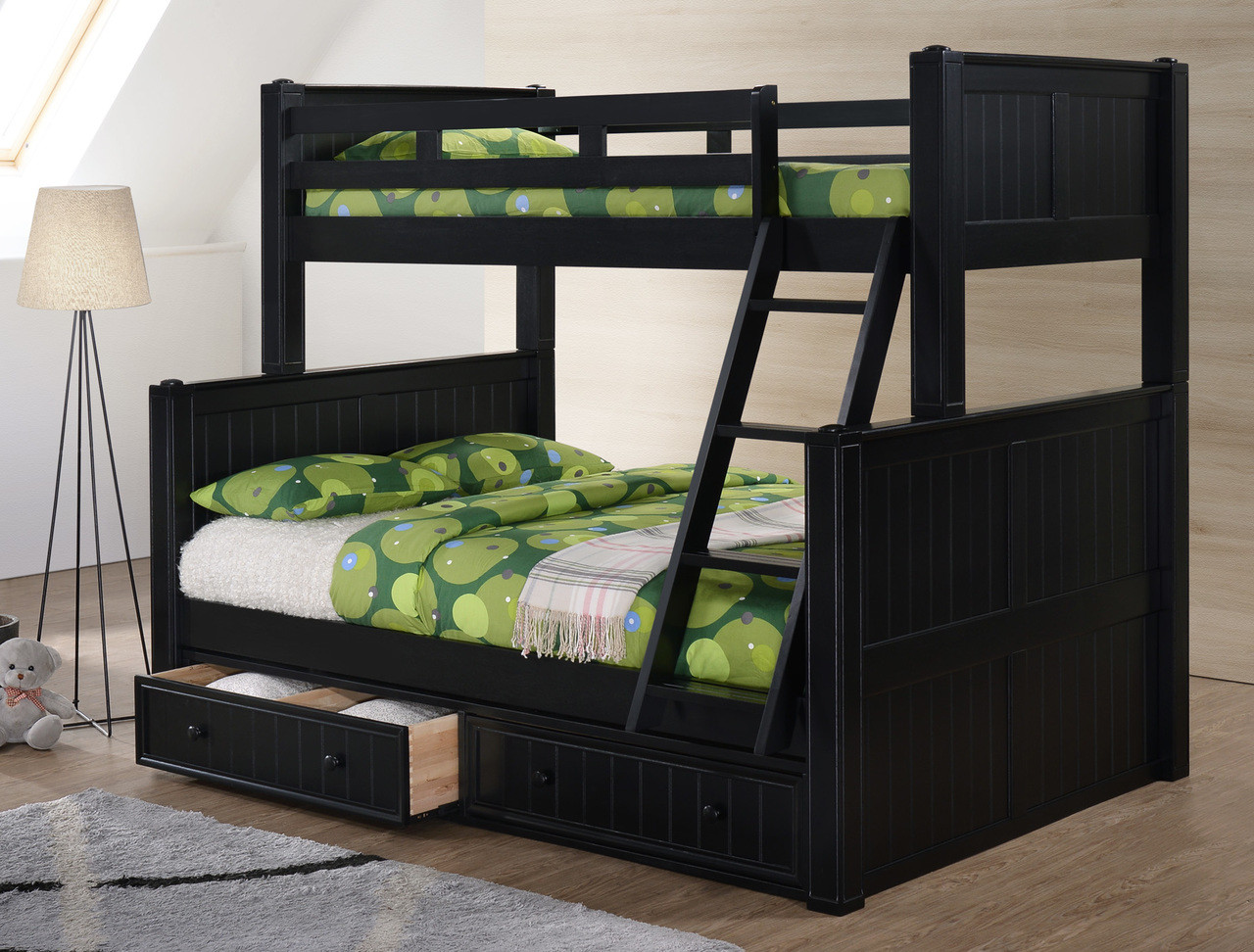 twin full bunk bed with gray finish black finish