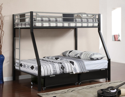 Black Silver Twin Full Metal Bunk Bed | Furniture of America BK1022