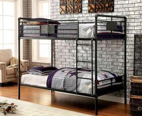 Captivating Furniture Of America Industrial Piping Twin Metal Bunk Bed