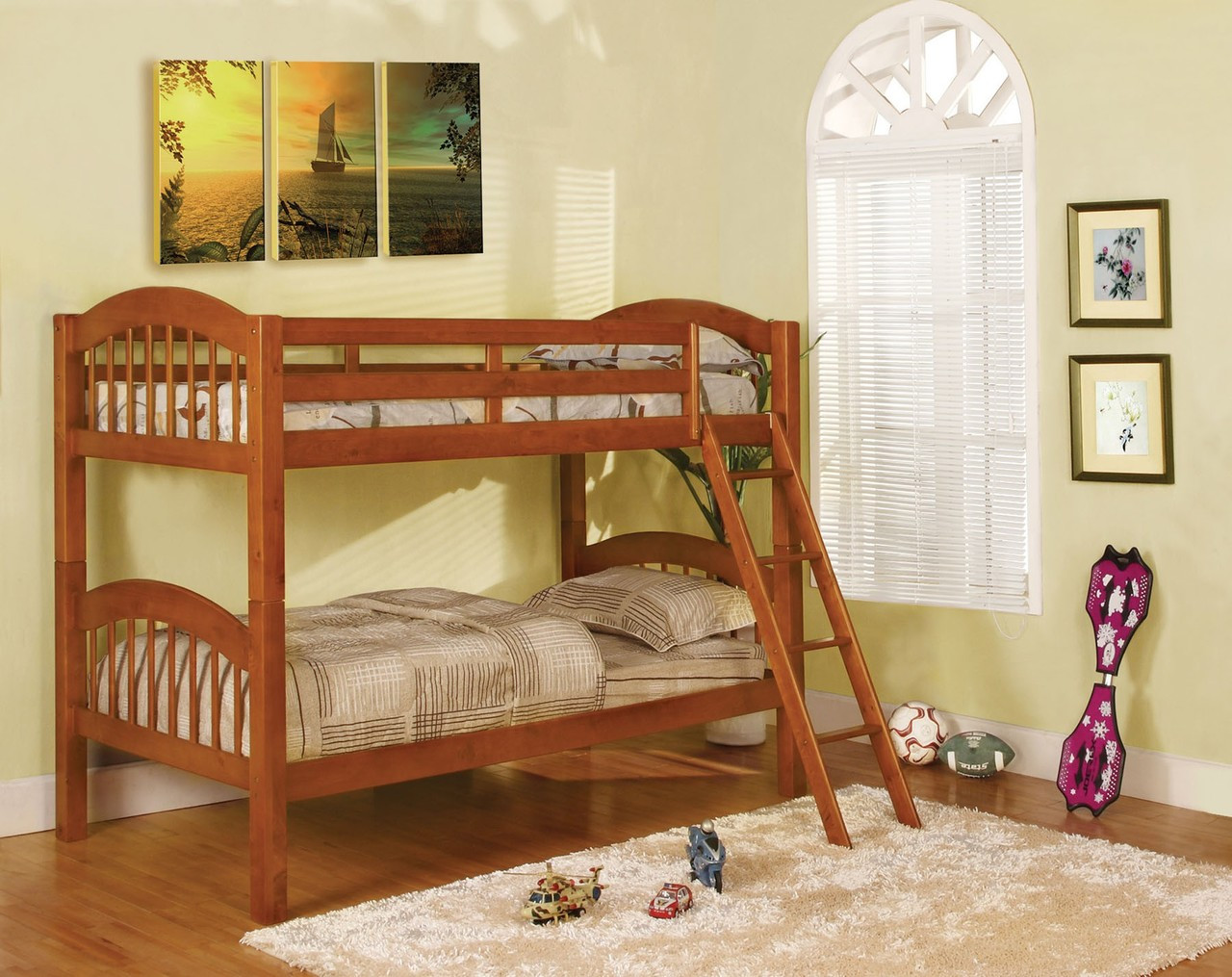 Owen Detachable Twin Bunk Bed In White Cherry And Oak