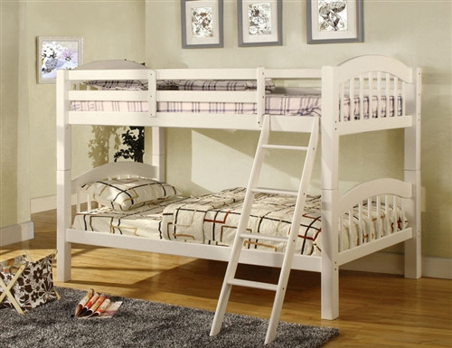 Owen White Wood Twin Bunk Bed | White Wood Bunk Bed ...