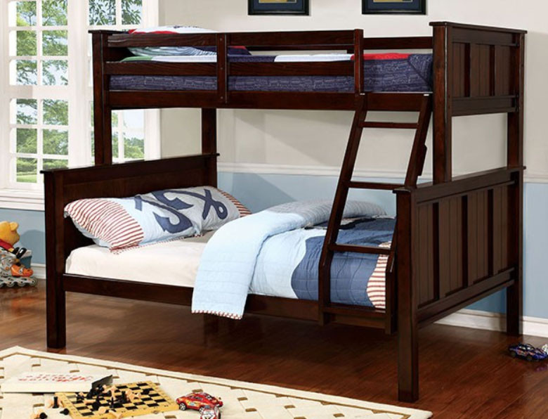 zachary twin over full bunk bed in dark walnut wood bunk bed twin over full