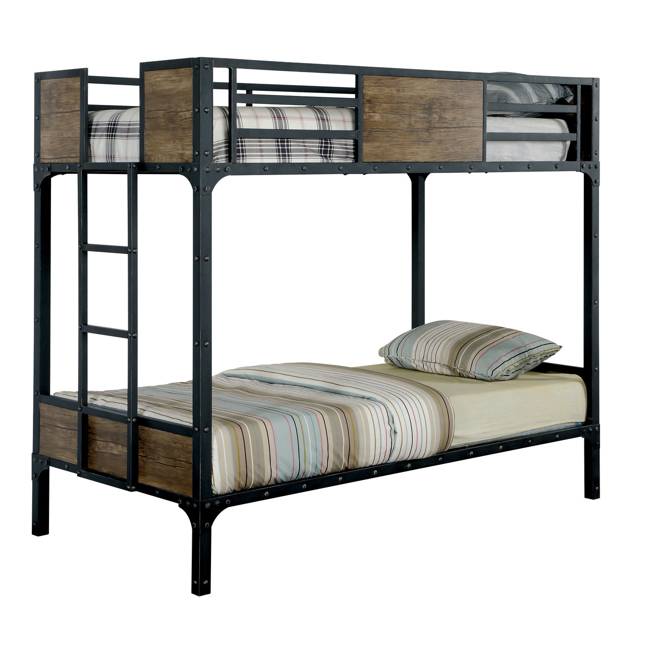 Furniture of america industrial metal wood twin bunk bed for Furniture 123 bunk beds