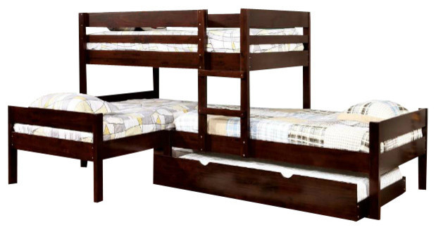 Espresso Corner Triple Bunk Bed With Trundle