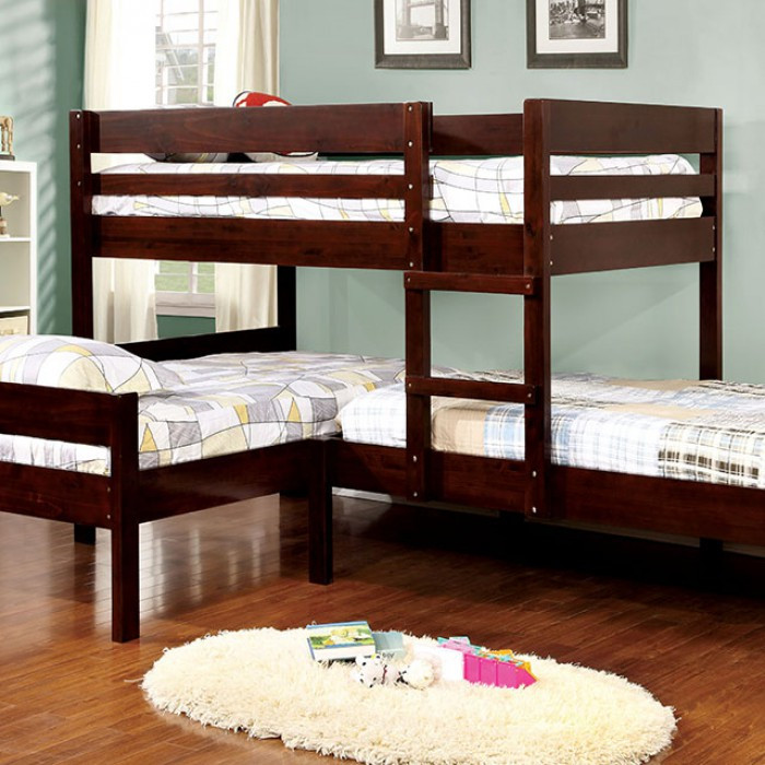 Corner Triple Twin Bunk Bed in Espresso | Bunk Bed for 3 + Reviews