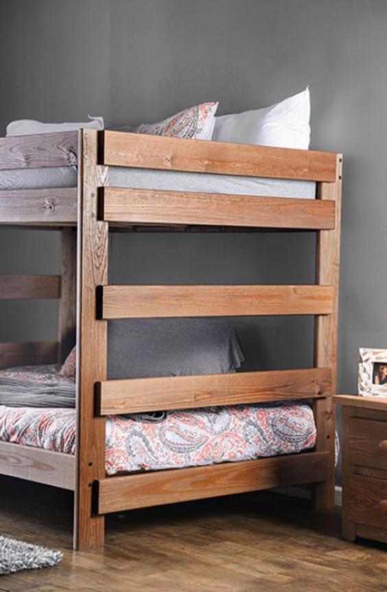 Julian Plank Style Rustic Full Size Bunk Bed  Just Full Size Bunk beds