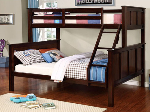 Zachary Extra Long Twin Queen Bunk Bed in Dark Walnut |