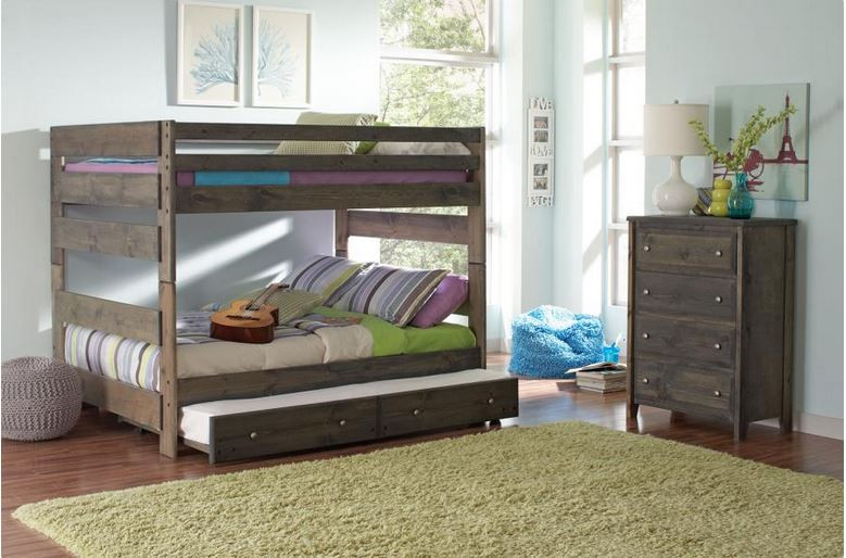 Grayson Solid Wood Full Size Bunk Bed In Gun Smoke