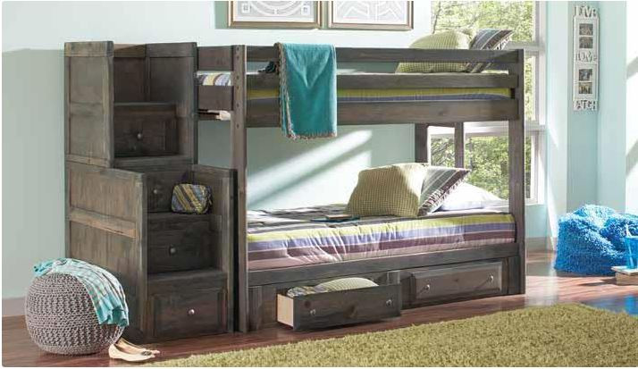 grayson solid wood full size bunk bed in gun smoke full over full bunk shown with stairs