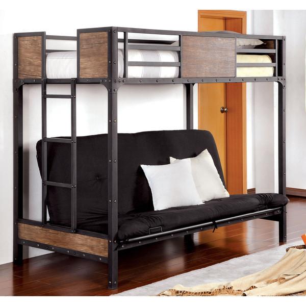 furniture of america industrial metal wood futon bunk bed   bk029ts     industrial style metal wood futon bunk bed   orange county  rh   justbunkbeds