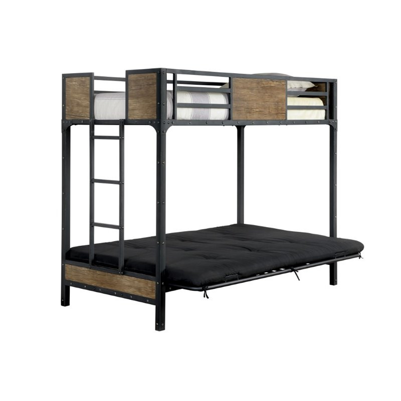 Furniture of America Industrial Metal Wood Futon Bunk Bed | BK029TS; Futon  Pad Extended ... - Industrial Style Metal Wood Futon Bunk Bed Orange County