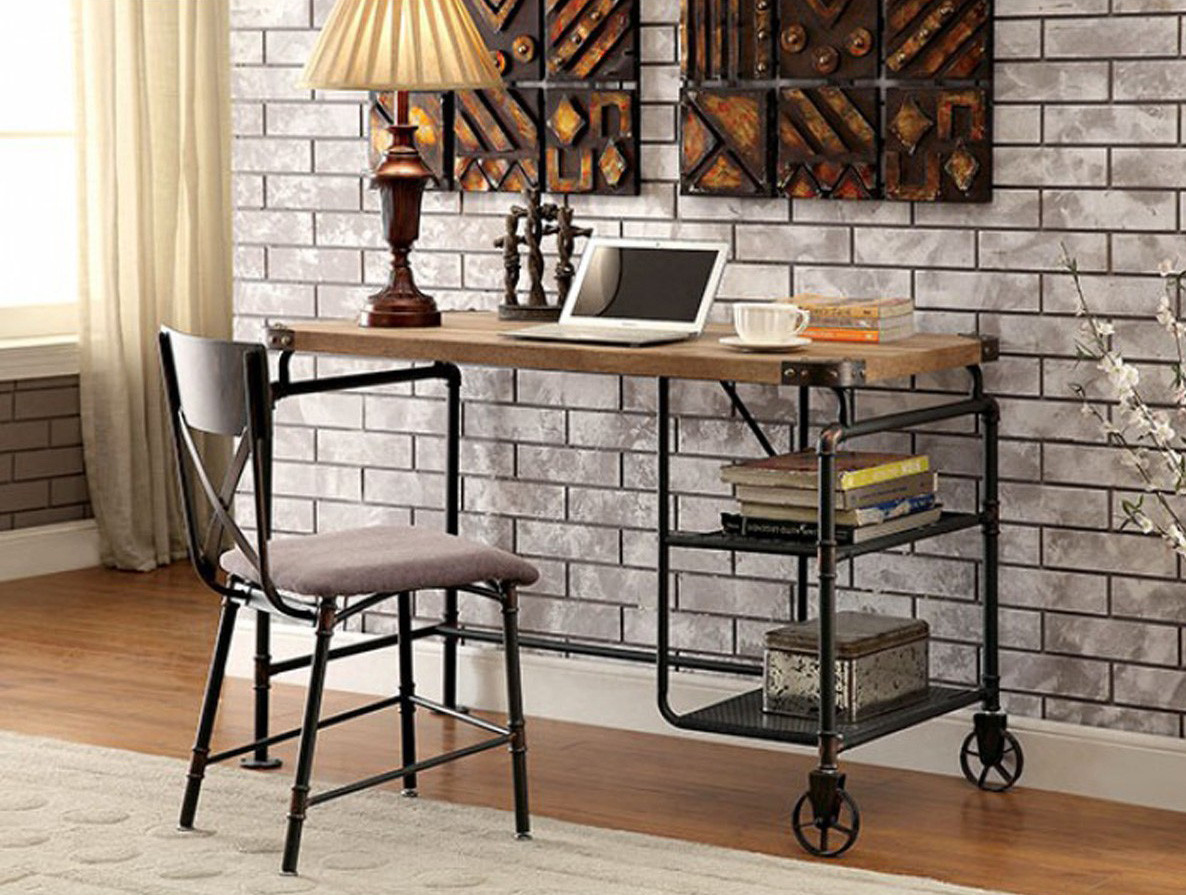 Industrial Style Piping Metal Wood Writing Desk  Just Bunk beds