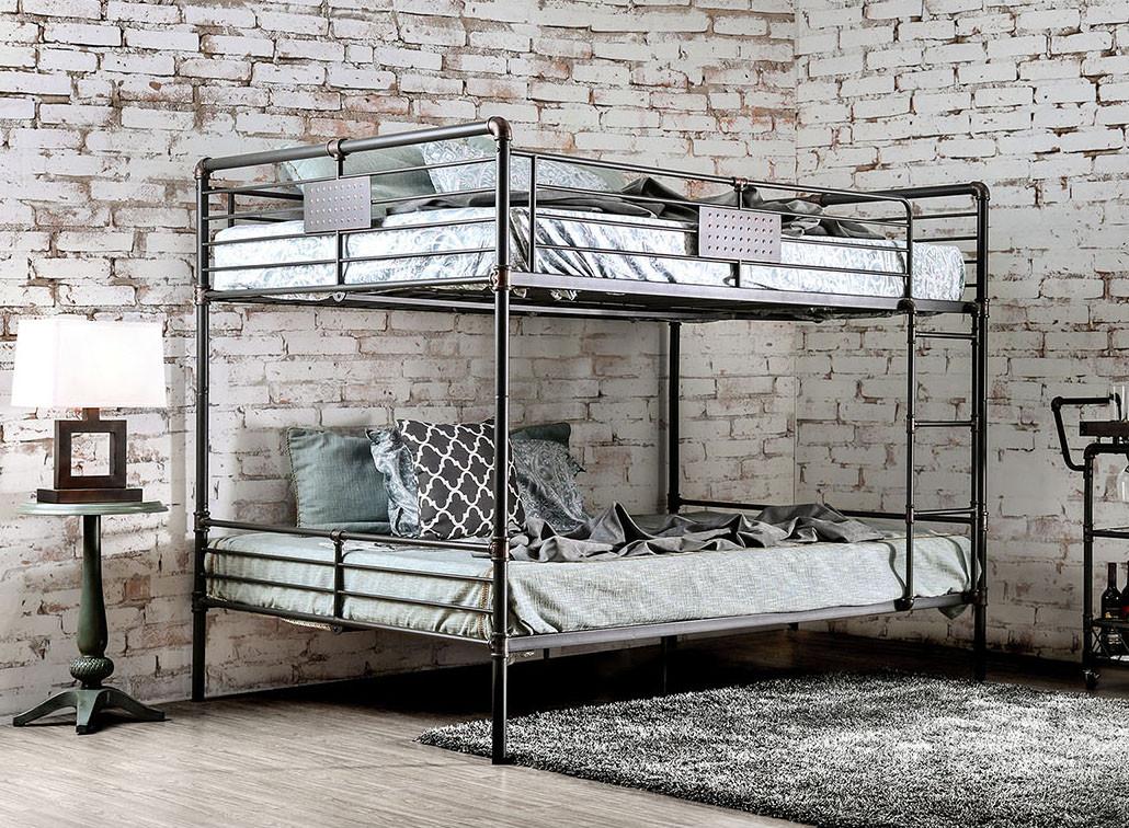 Industrial Piping Queen Over Queen Metal Bunk Bed For Sale
