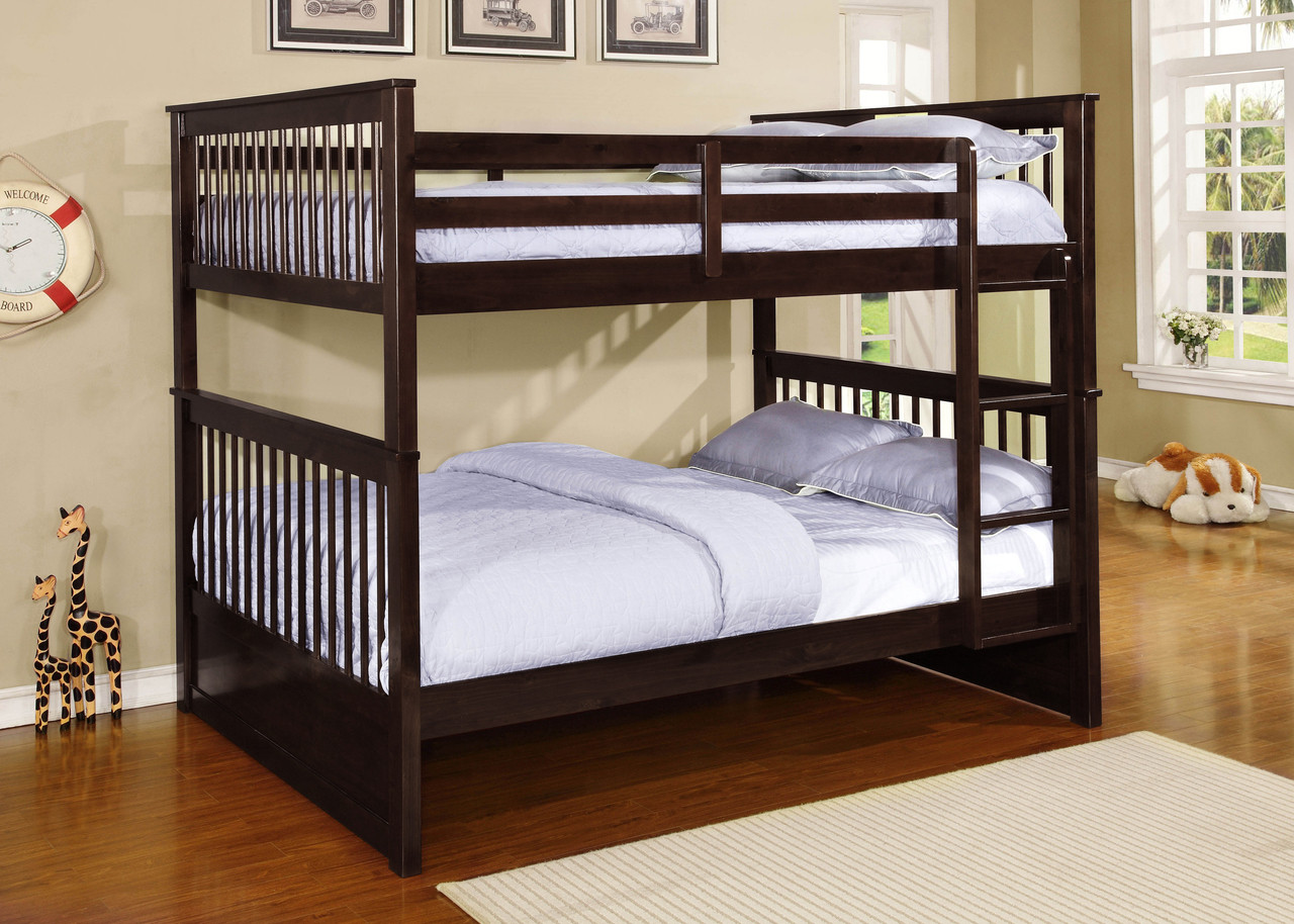 aspen mission full size bunk bed white espresso. Black Bedroom Furniture Sets. Home Design Ideas