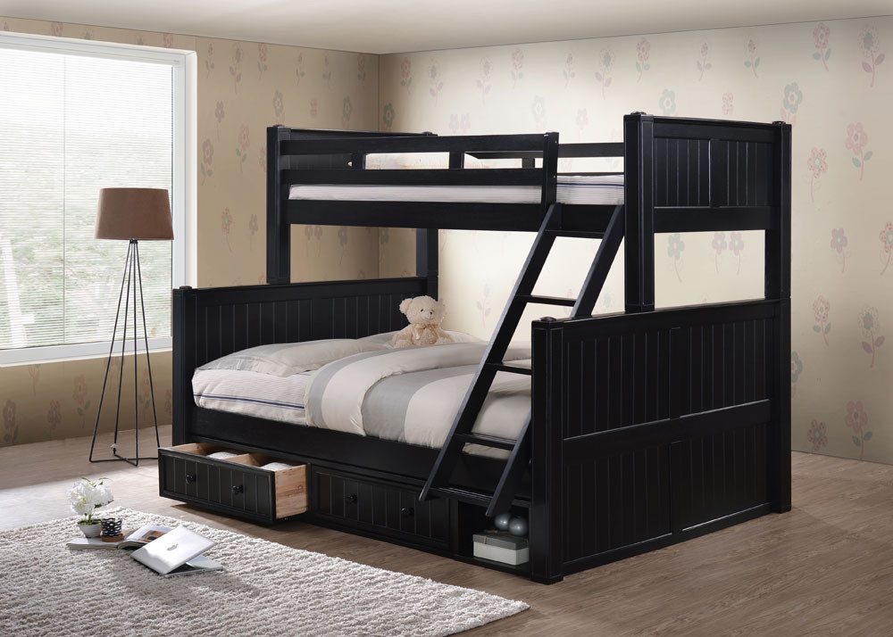 Top Dillon Extra Long Twin over Queen Bunk Bed with Storage Drawers TK72