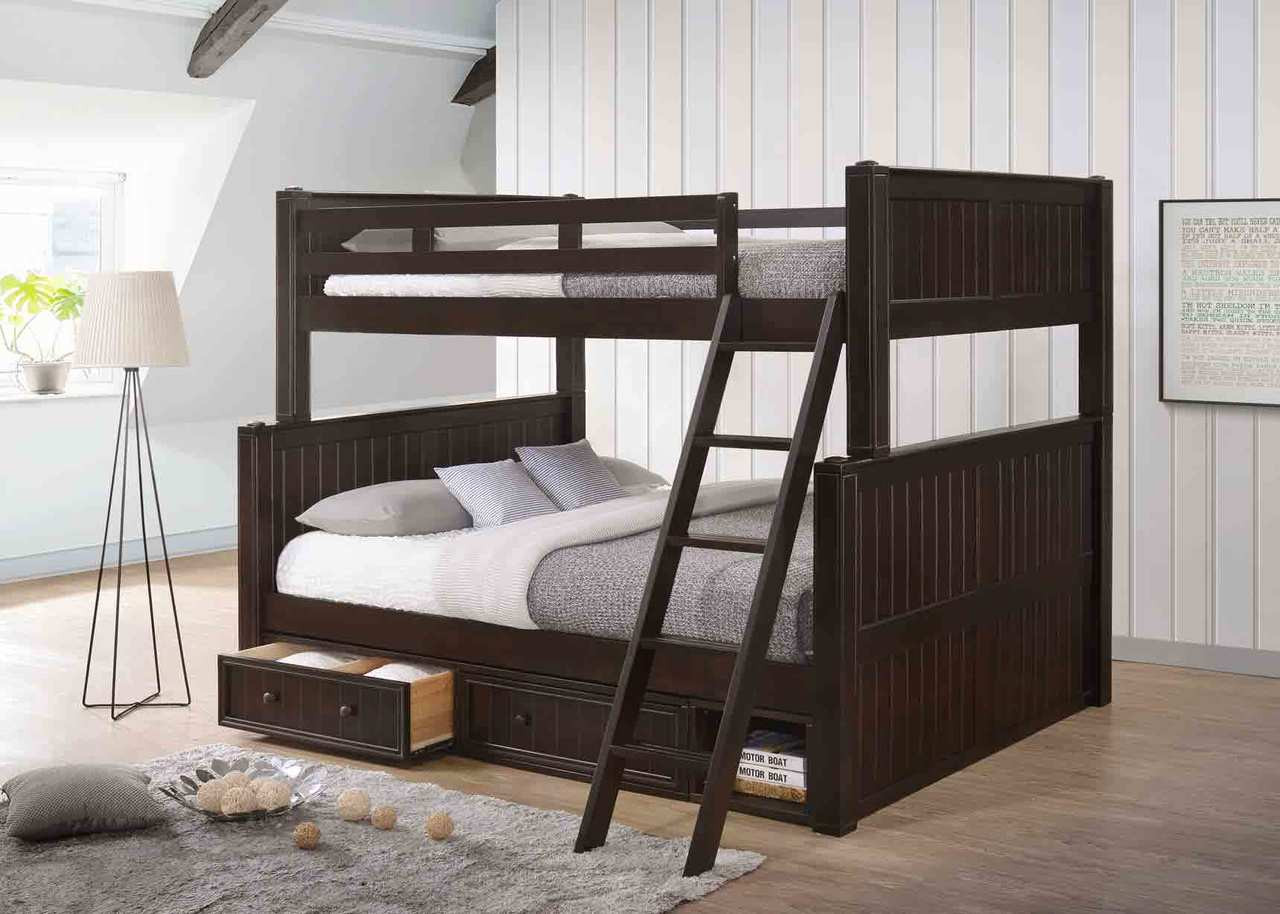 Superieur Dillon Long Full Over Queen Bunk Bed With Trundle In Espresso · White ·  Espresso ...