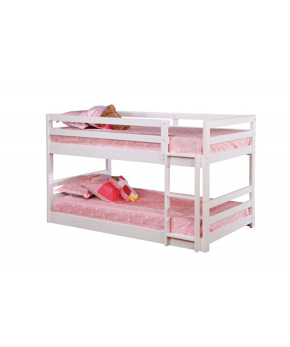 bed double twin wood bunk in white finish