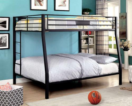 brady extra long full over queen black metal bunk bed. Black Bedroom Furniture Sets. Home Design Ideas