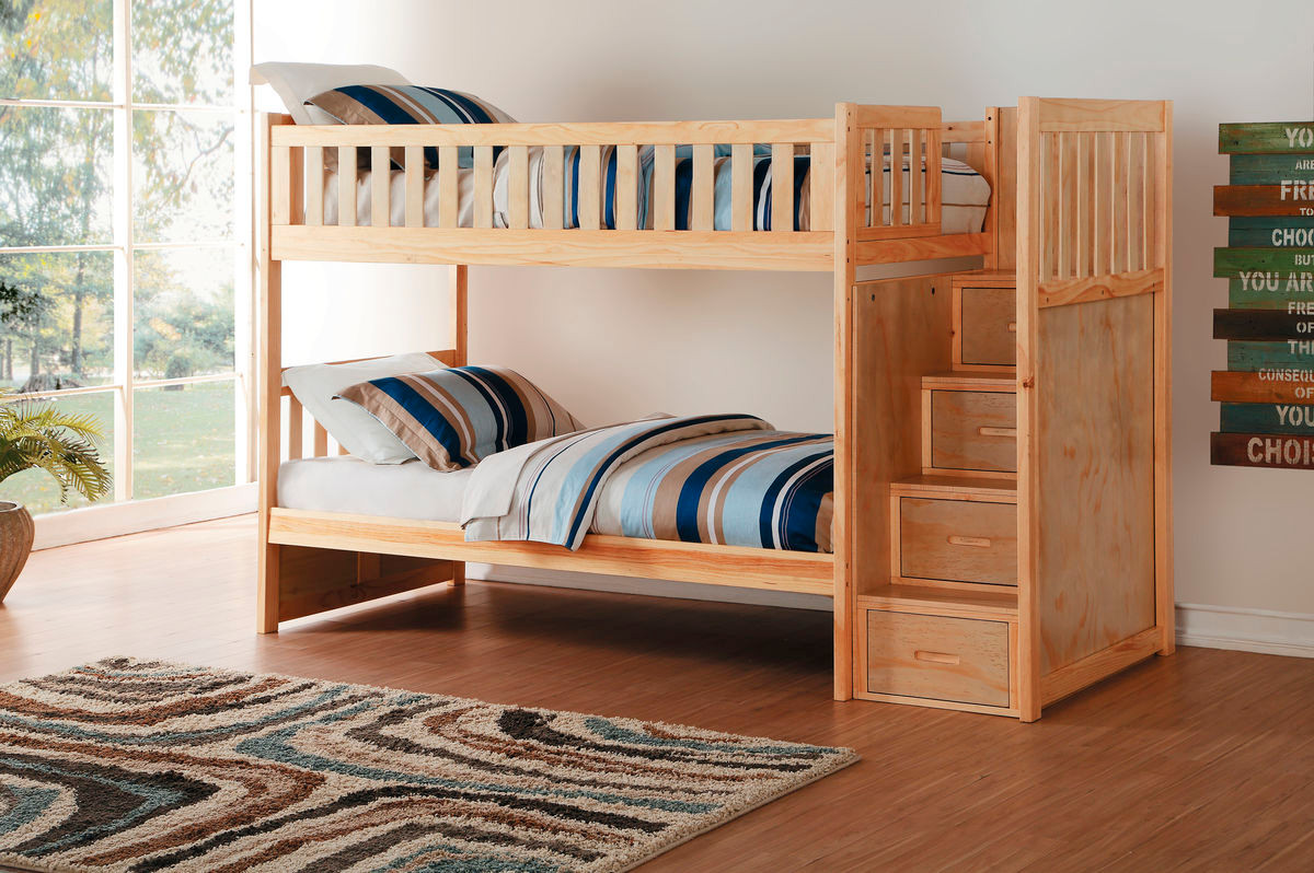 Charlton Pine Twin Over Twin Bunk Bed With Stairs In Gray Finish   Shown  With Optional · Pine Finish ...