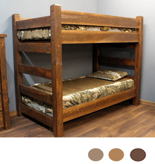 Lodge Xl Twin Over Xl Twin Barnwood Bunk Bed For Adults