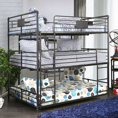 Industrial Style Piping Full 3 Decker Bed | 3 Tiered Bed in Full Size