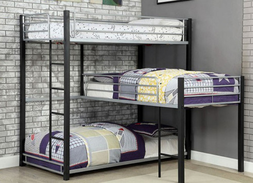 Gabriel Industrial Style 3 Person Bunk | Corner Bunk Bed for 3
