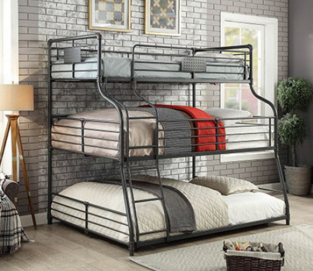 Fresh Piping Style Twin on Full on Queen Bunk | Stacked Bunk Bed for 3 MQ05