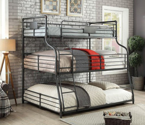 Piping Style Twin on Full on Queen Bunk | Triple Decker Bunk
