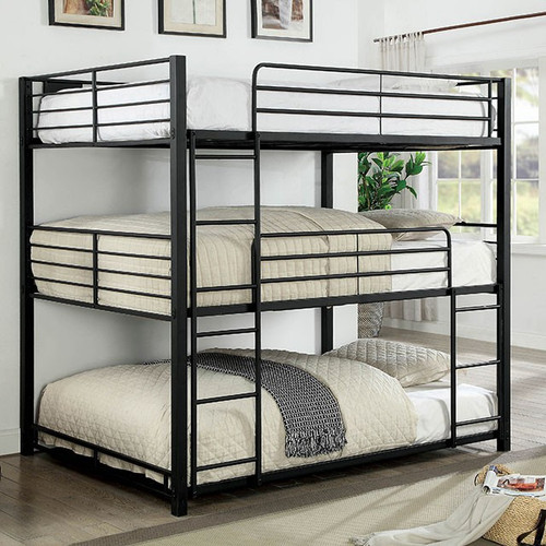 Logan Full Size Three High Bunk Bed in Black | Stacked Beds
