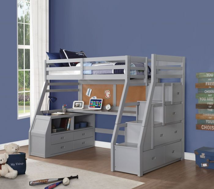 Venus Gray Twin Loft Bed with Storage Steps and workstation & Venus Gray Twin Loft Bed with Storage Steps u0026 Workstation